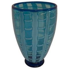 Mid-Century Modern Large Gino Cenedese Murano Blue Art Glass Stripped Vase