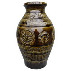 Mid-Century Modern Large Olive W German Ceramic Pottery Vessel Jar Vase