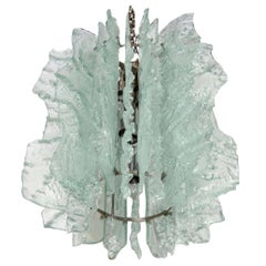 Mid Century Modern Large Ice Glass Chandelier with Relief Design