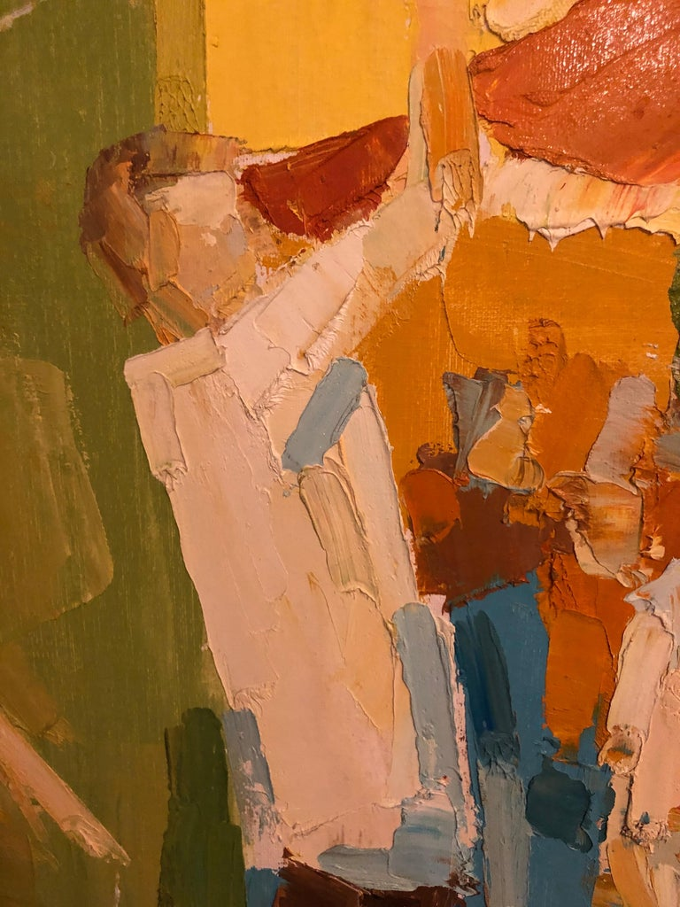Mid-Century Modern Large Impasto Painting of Golfers by Italo Botti For Sale 6
