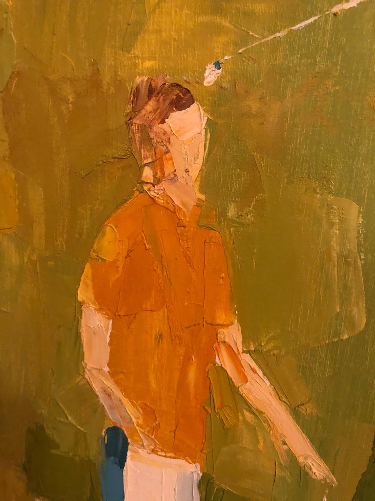 Mid-Century Modern Large Impasto Painting of Golfers by Italo Botti For Sale 9