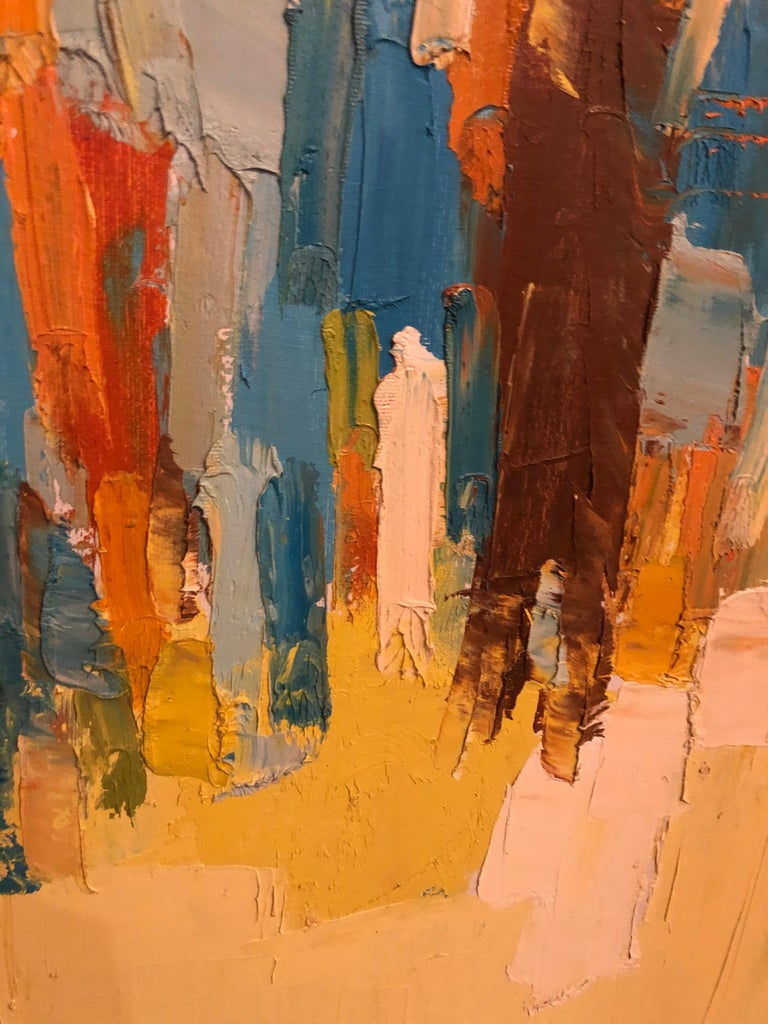 Mid-Century Modern Large Impasto Painting of Golfers by Italo Botti For Sale 11