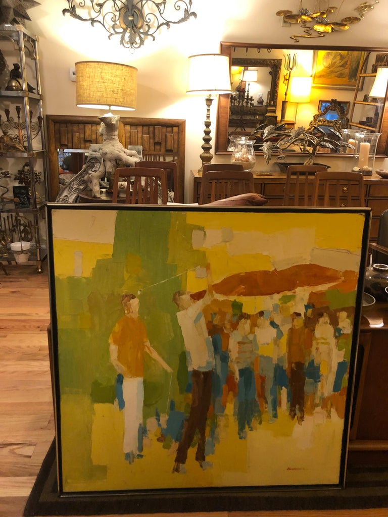 Mid-Century Modern Large Impasto Painting of Golfers by Italo Botti For Sale 13