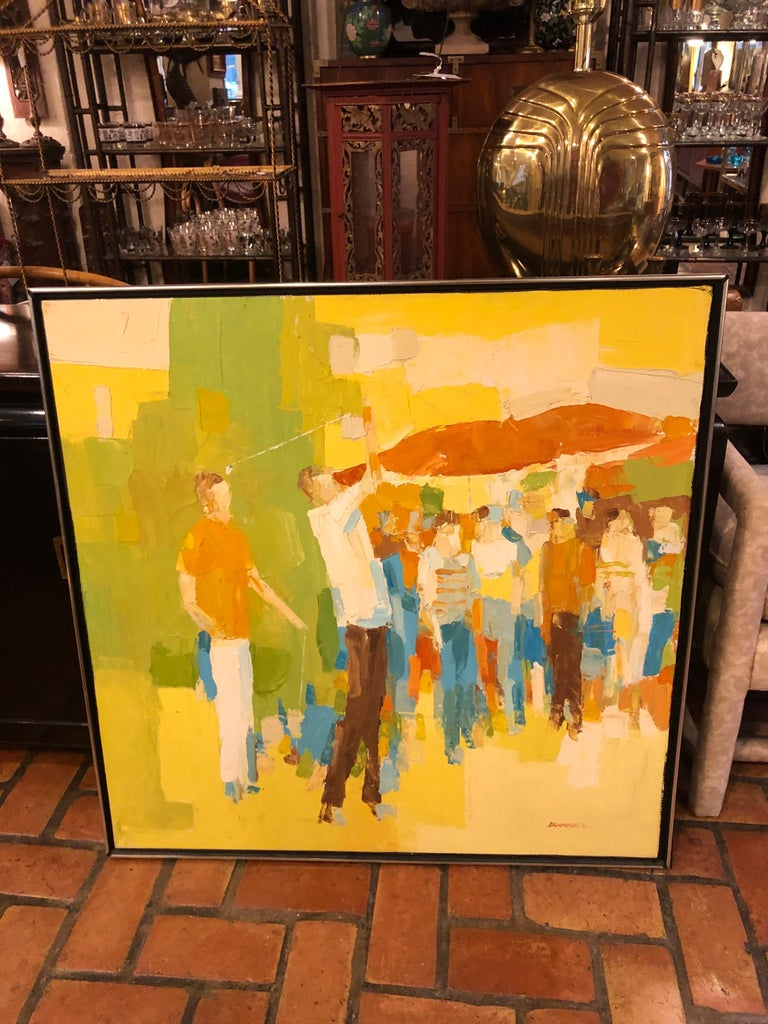 Mid-Century Modern large impasto painting of golfers by Italo Botti. . Also known as George Botti and or George Barrell. Incredible detail and heavy paint characteristic of Italo Botti's style. Intense composition of golfers in action surrounded by