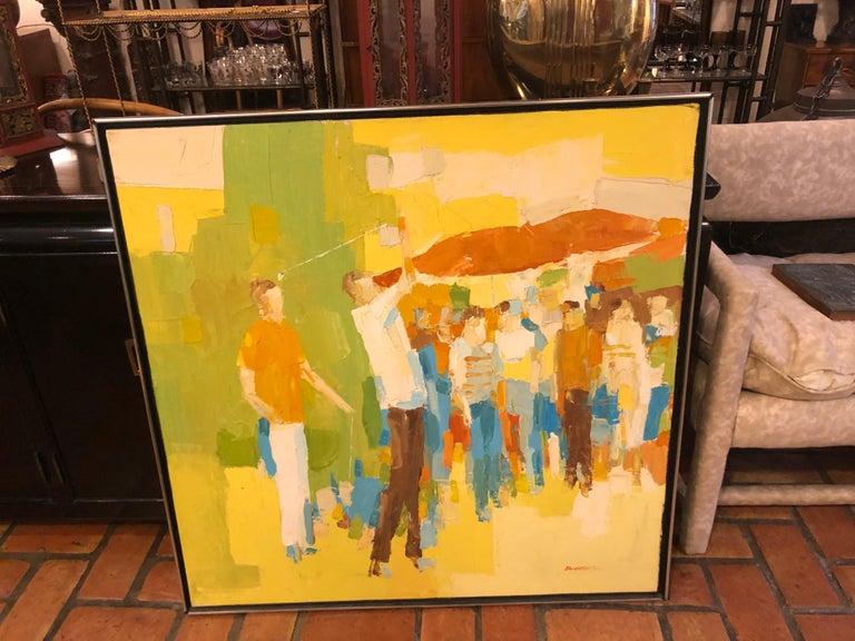 Italian Mid-Century Modern Large Impasto Painting of Golfers by Italo Botti For Sale
