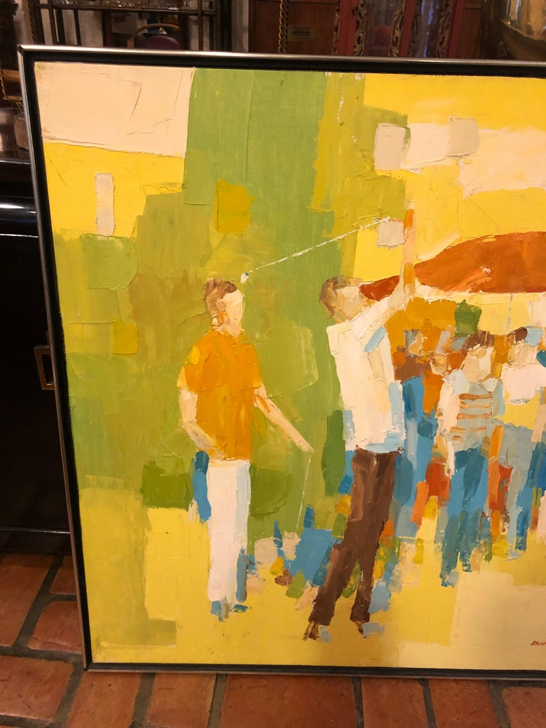 Mid-Century Modern Large Impasto Painting of Golfers by Italo Botti In Good Condition For Sale In Redding, CT