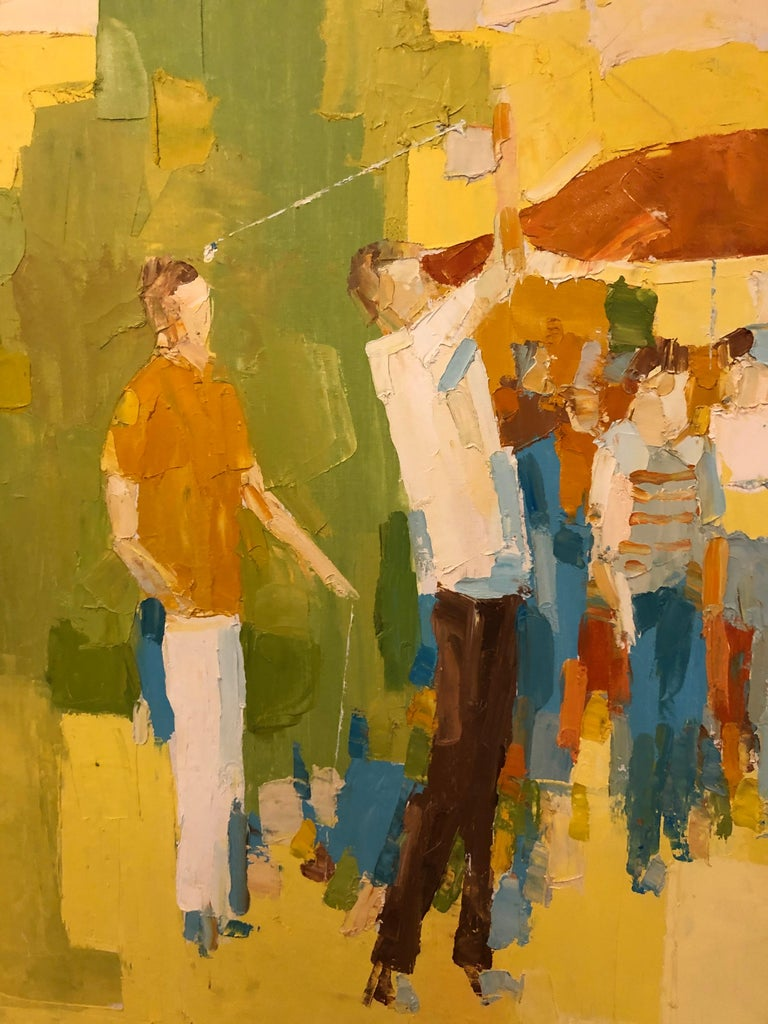 Late 20th Century Mid-Century Modern Large Impasto Painting of Golfers by Italo Botti For Sale