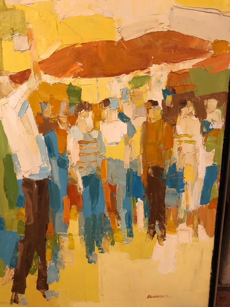 Canvas Mid-Century Modern Large Impasto Painting of Golfers by Italo Botti For Sale