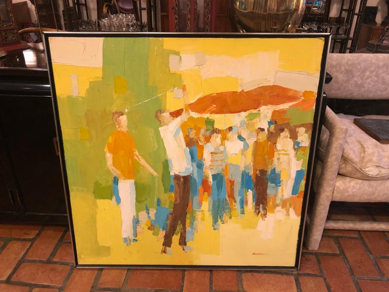 Mid-Century Modern Large Impasto Painting of Golfers by Italo Botti For Sale 1