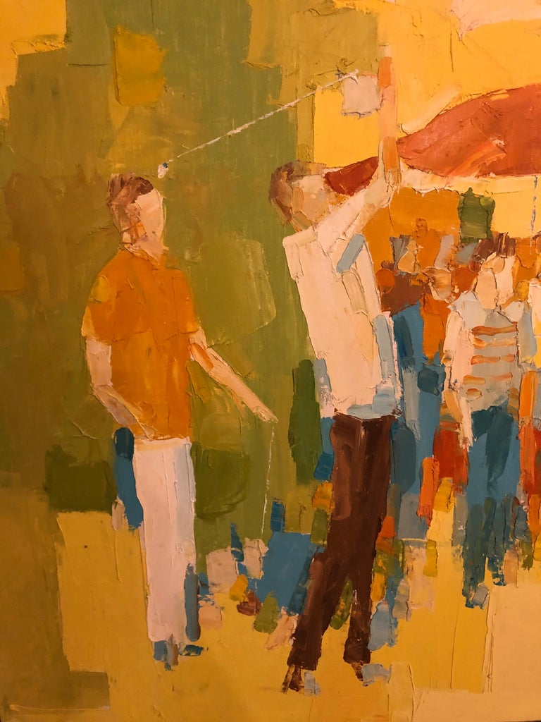 Mid-Century Modern Large Impasto Painting of Golfers by Italo Botti For Sale 3