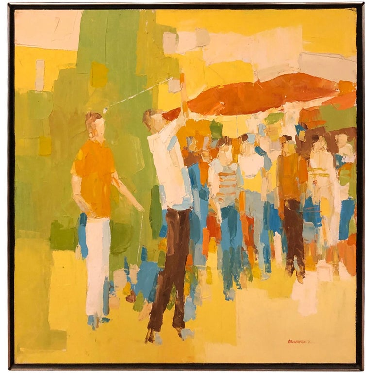 Mid-Century Modern Large Impasto Painting of Golfers by Italo Botti For Sale