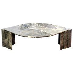 Mid-Century Modern Large Italian Marble Eye Shaped Coffee Table