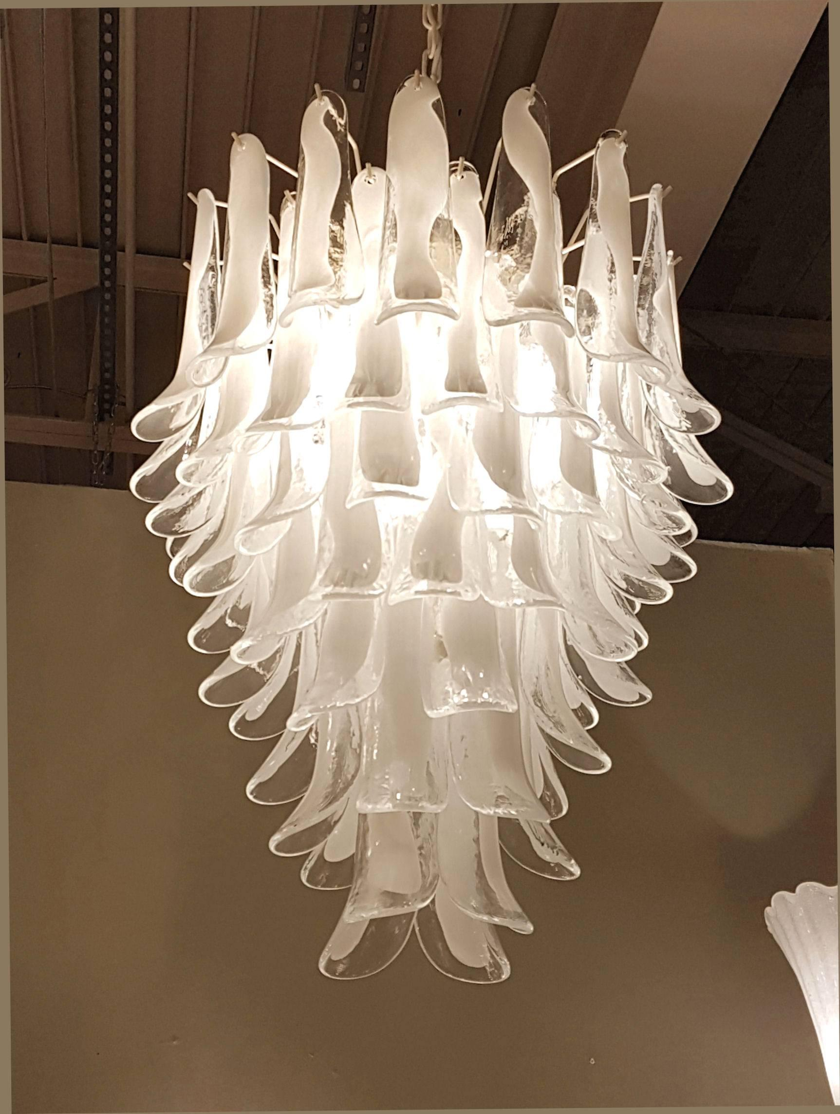 Mid Century Modern White And Clear Murano Glass Petals Chandelier. By  Mazzega, Italy