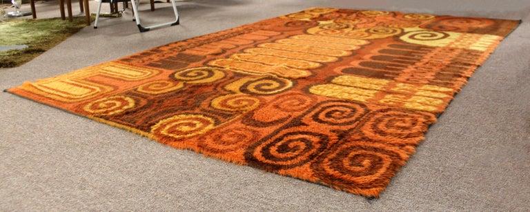 Late 20th Century Mid-Century Modern Large Orange Rectangular Rya Wool Shag Area Rug Carpet, 1970s For Sale