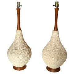 Mid-Century Modern Large Popcorn Teak Table Lamps