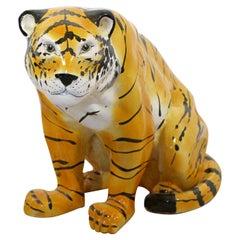 Mid-Century Modern Large Porcelain Tiger Floor Sculpture Statue, 1970s