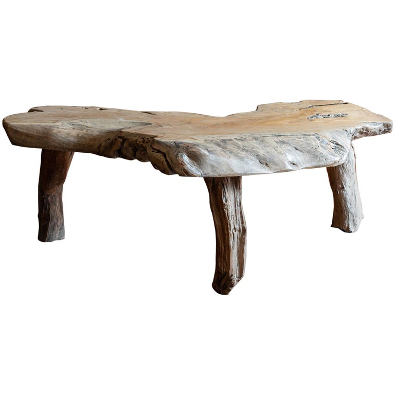 Mid-Century Modern Large Primitive Teak Root Coffee Table For Sale