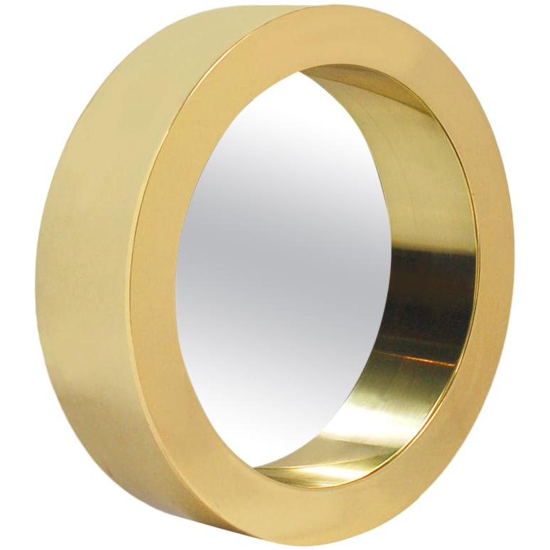 Mid-Century Modern Large Round Porthole Wall Mirror in Gold Brass by Curtis Jere