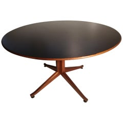 Mid-Century Modern Large Round Walnut with Laminate Top Table