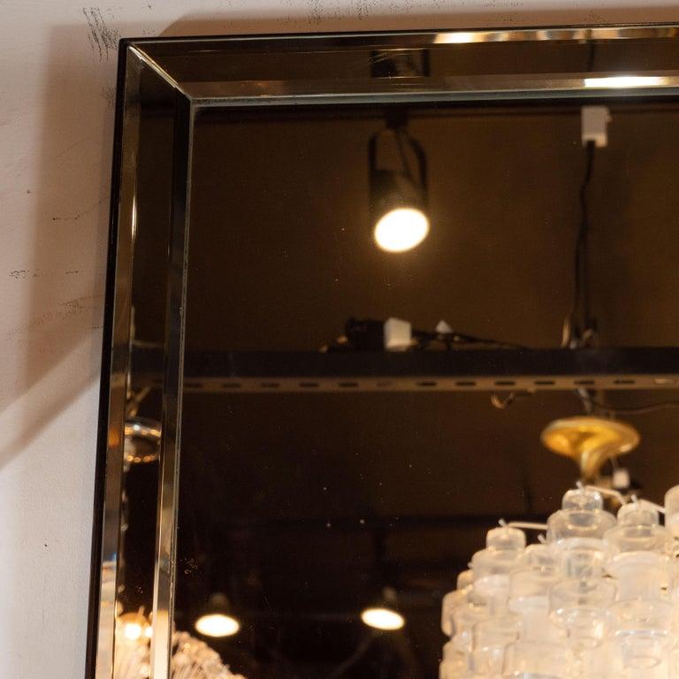 Ebonized Mid-Century Modern Large Scale Beveled Shadowbox Mirror For Sale