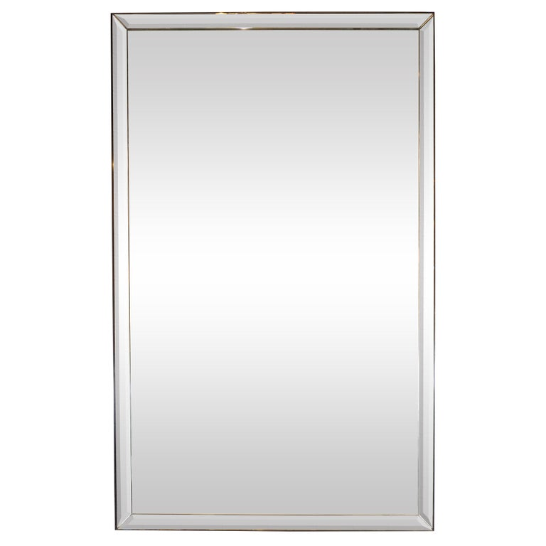Mid-Century Modern Large Scale Beveled Shadowbox Mirror For Sale