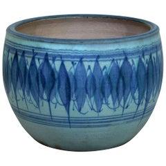 Mid-Century Modern Large Signed J.T. Abernathy Blue Glazed Ceramic Pot, 1960s