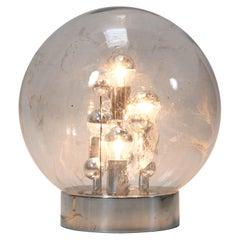 Mid-Century Modern Large Smoked Glass Globe Floor Lamp by Doria, Germany, 1970s