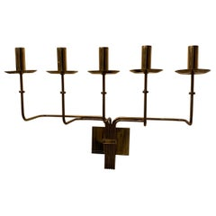 Mid-Century Modern Large Tommi Parzinger Brass Five-Arm Candelabra Sconce Dorlyn