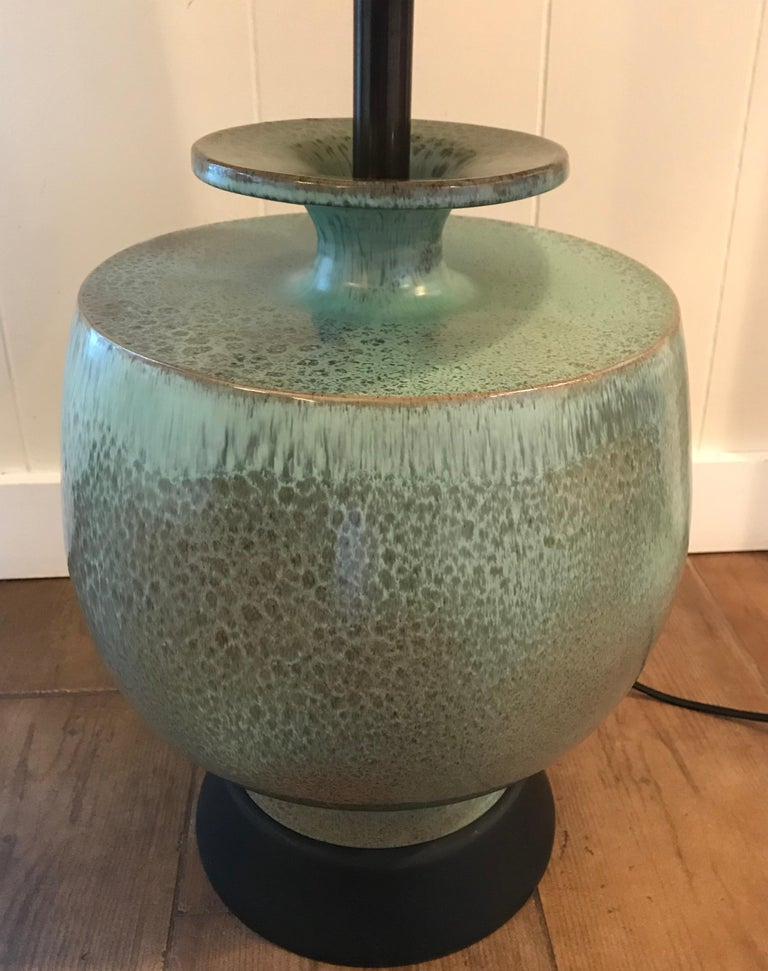 Italian Mid-Century Modern Large Turquoise Ceramic Table Lamp by Marbro, Italy, 1960s For Sale