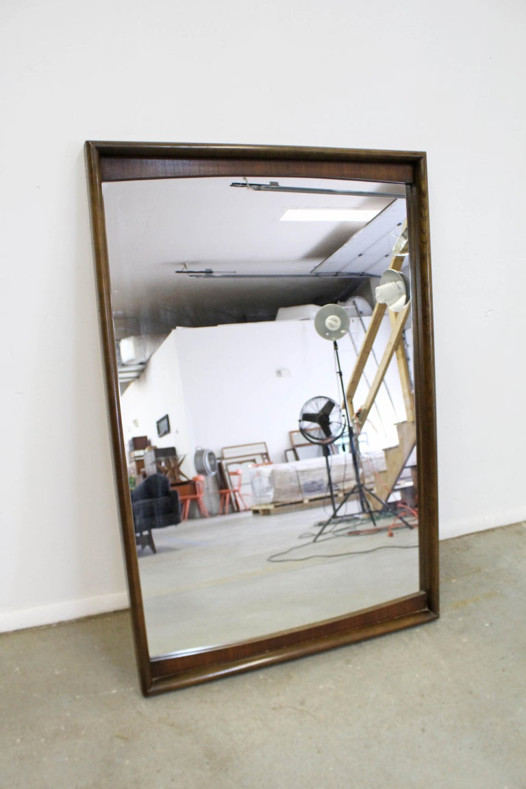 American Mid-Century Modern Large Walnut Mirror by United Furniture Corp For Sale