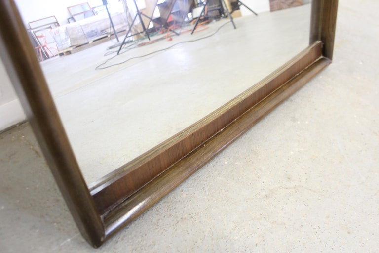 Mid-Century Modern Large Walnut Mirror by United Furniture Corp For Sale 1