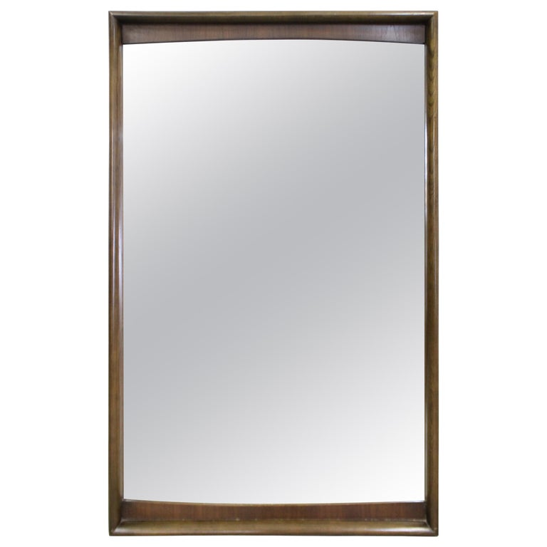 Mid-Century Modern Large Walnut Mirror by United Furniture Corp For Sale