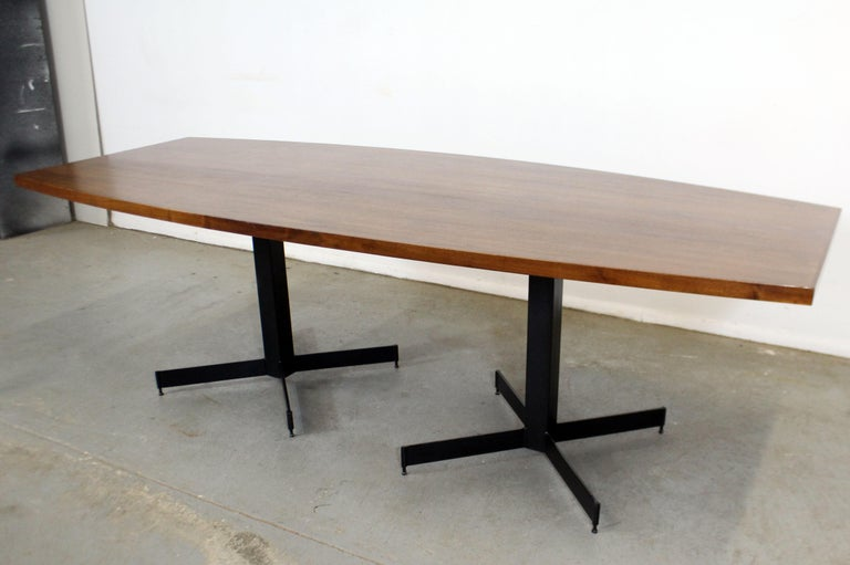 American Mid-Century Modern Large Walnut Surfboard Conference/Dining Table For Sale