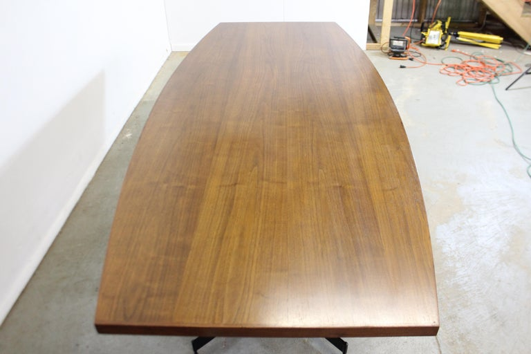 Metal Mid-Century Modern Large Walnut Surfboard Conference/Dining Table For Sale