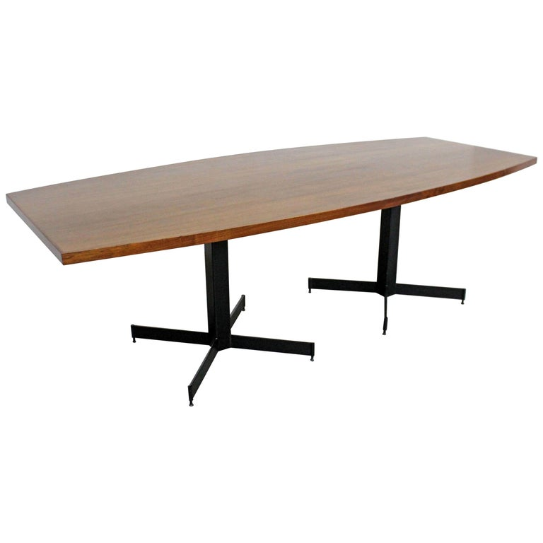 Mid-Century Modern Large Walnut Surfboard Conference/Dining Table For Sale