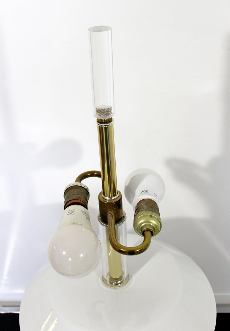 Late 20th Century Mid-Century Modern Large White Ceramic Brass and Lucite Architectural Lamp Bauer For Sale