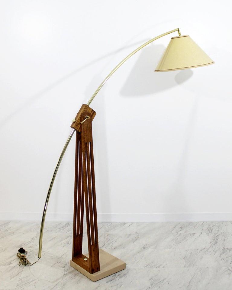 Modern Arc Floor Lamps Sale: Mid-Century Modern Large Wood Adjustable Arc Floor Lamp