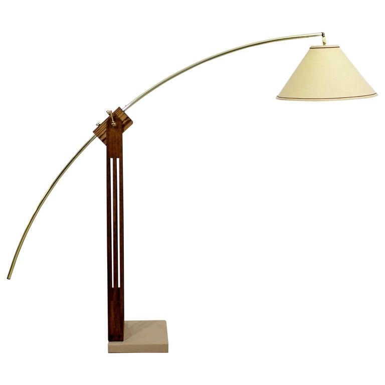 Mid Century Modern Large Wood Adjustable Arc Floor Lamp