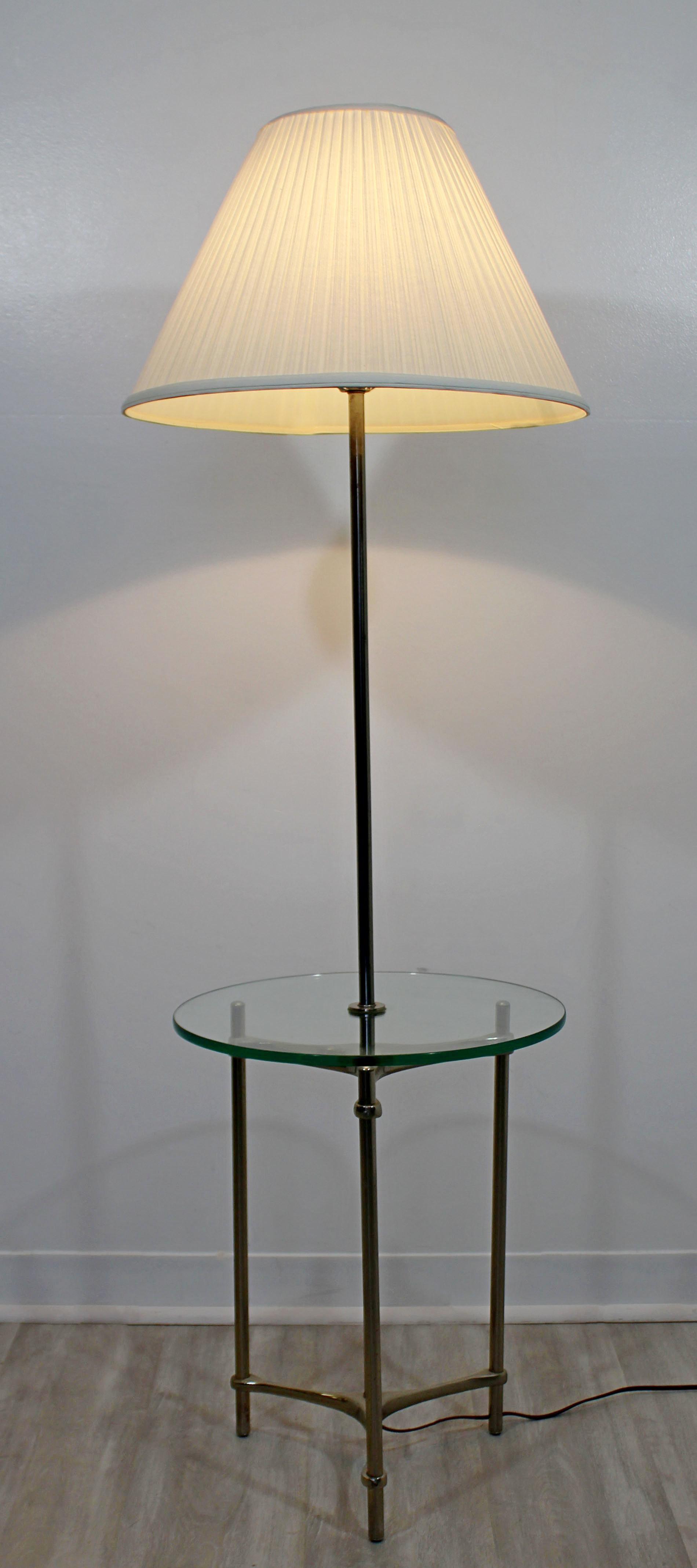 Mid Century Modern Laurel Aluminum Glass Tripod Floor Lamp Table Original Shade For Sale At 1stdibs