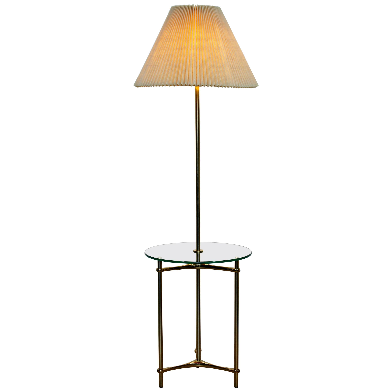 Mid-Century Modern Laurel Brass Glass Tripod Floor Lamp Table, 1970s