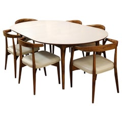 Mid-Century Modern Lawrence Peabody Craft Assoc. Dining Table and 6 Side Chairs