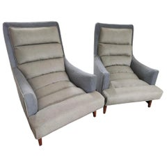 Mid-Century Modern Lawrence Peabody for Selig Channel Back Lounge Club Chairs