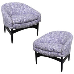 Mid-Century Modern Lawrence Peabody Upholstered Barrel Back Lounge Chairs, Pair