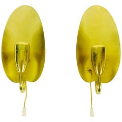 Mid-Century Modern Leaf Shaped Brass Wall Lamp, 1950s, Pair