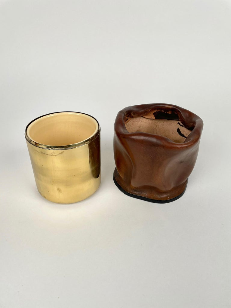 Mid-Century Modern Leather and Brass Ice Bucket, Italy, 1970s For Sale 6