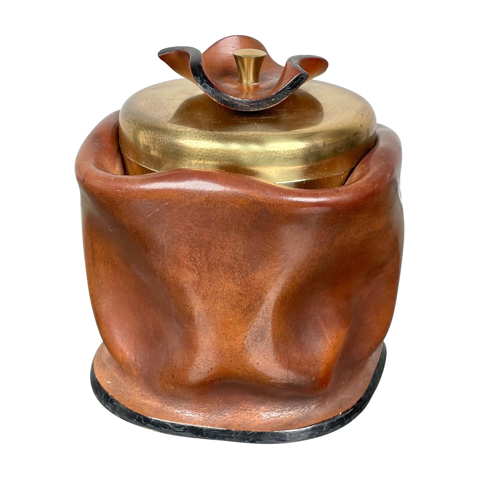 Mid-Century Modern Leather and Brass Ice Bucket, Italy, 1970s