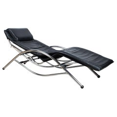 Mid-Century Modern Leather and Chrome Chaise Longue Daybed, Belgium, circa 1980