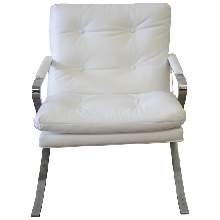 Mid Century Modern Leather And Chrome Lounge Chair For