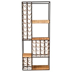 Mid-Century Modern Leather and Iron Wine Rack Room Divider by Arthur Umanoff