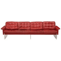 Mid-Century Modern Leather and Lucite Vintage Loft Sofa, Italy, 1970s